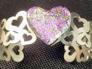 Fused glass heart bracelet by Vicki Urbich