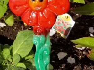 Fused glass garden stake by Vicki Urbich