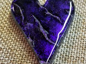 Fused glass heart pendant by Vicki Urbich