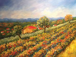 Hillside in Giverny by Sandra Marshall