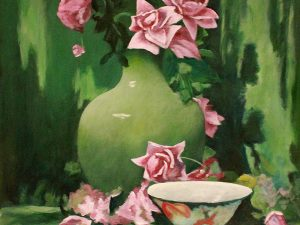 Pink Roses in a Green Vase by Sandra Marshall