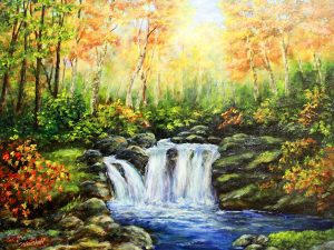 Waterfall in Autumn by Sandra Marshall