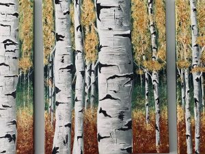 Aspen Forest Tryptic by Wendy Johnson