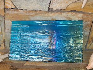 Sailing Iridescent Textured Plate by Vicki Urbich
