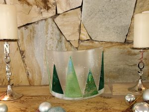 Trees in the Snow Candle Screen by Vicki Urbich