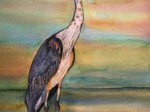 Blue Heron at Sunrise by Jocelyn Bichard